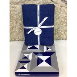 Mantel Flor Azul 6  serv. Sargadelos