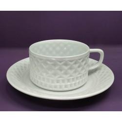 Taza té con plato decorado Portomarínico de Sargadelos