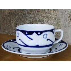 Cunca de té con prato Peixes Azul Sargadelos