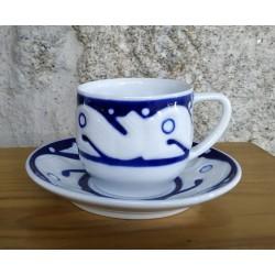 Cunca café con prato Peixes Azul Sargadelos