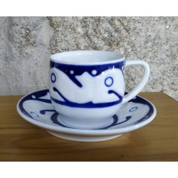 Taza café con plato Peixes Azul Sargadelos