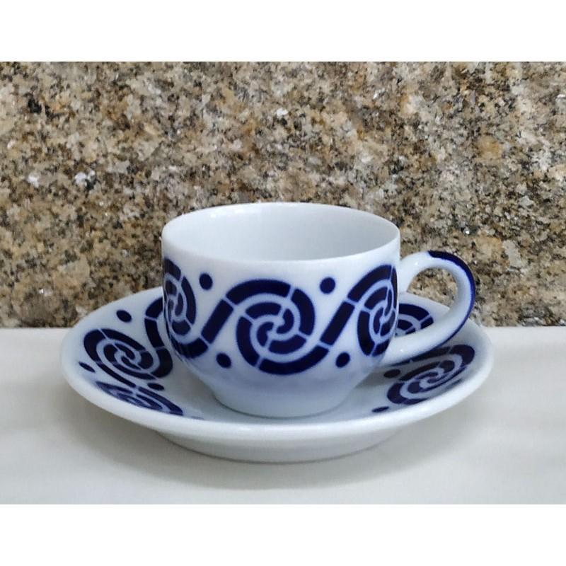 Cunca de café con prato Espiroide Sargadelos