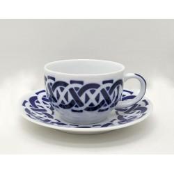 Cunca de té con prato Encadrelado Sargadelos