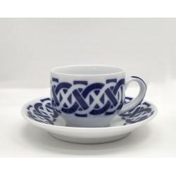Cunca de café con prato Encadrelado Sargadelos
